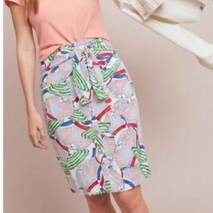 Anthropologie Beach Umbrella Button Down Skirt